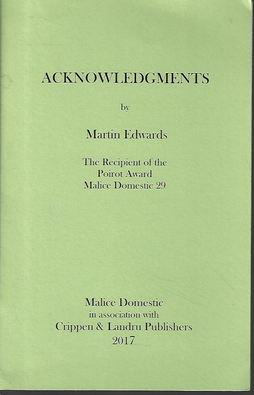 ACKNOWLEDGEMENTS; The Recipient of the Poirot Award Malice Domestic 29