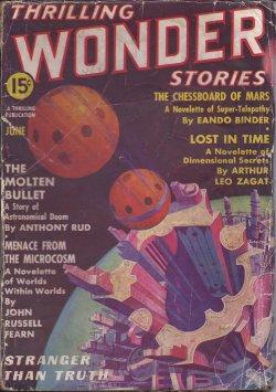 THRILLING WONDER (JOHN RUSSELL FEARN; ARTHUR LEO ZAGAT; EANDO BINDER; ANTHONY RUD; RAYMOND Z. GALLUN; RICHARD TOOKER; J. HARVEY HAGGARD; ARTHUR K. BARNES; FRANK BELKNAP LONG, JR.; JACK BINDER; MAX PLAISTED) - Thrilling Wonder Stories: June 1937