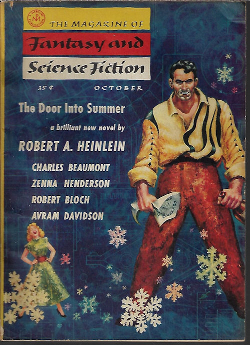 """Image for The Magazine of FANTASY AND SCIENCE FICTION (F&SF): October, Oct. 1956 (""""The Door Into Summer"""")"""